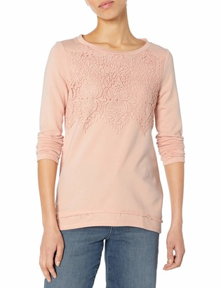 Jolt Women's French Terry Sweatshirt with Crochet Front Detail. Banded Hem and Seam Down Center Back