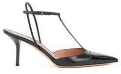 HUGO BOSS T Bar Slingback Pumps In Nappa Leather With Patent Toe - Black