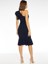 Quiz Scuba Crepe Double Frill One Shoulder Fishtail Frill Midi Dress - Navy