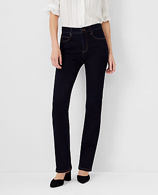 Ann Taylor Petite Sculpting Pocket Slim Boot Cut Jeans in Classic Rinse Wash