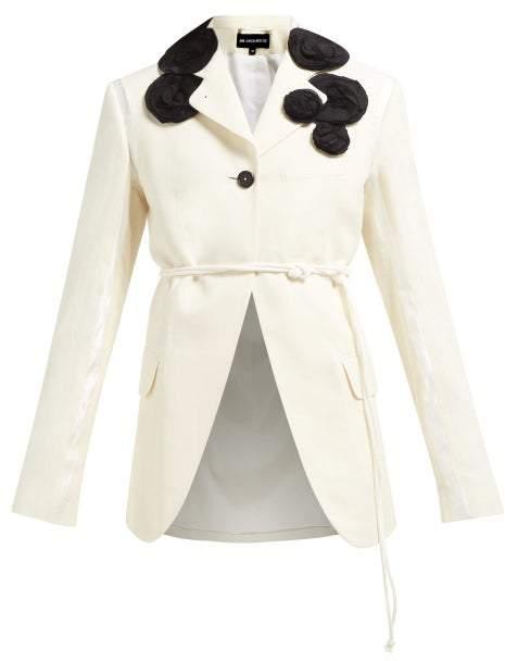 Ann Demeulemeester Rose Applique Single Breasted Cotton Blazer - Womens - White Multi
