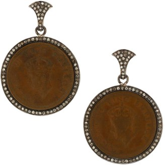 Nina Gilin Black Rhodium-Plated & Diamond Coin Drop Earrings
