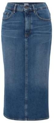 BOSS Stretch-denim midi skirt in mid blue with side split