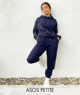 ASOS DESIGN Petite tracksuit hoodie / slim trackies with tie in organic cotton in navy