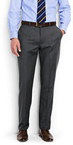 Lands' End Men's Traditional Fit Plain Front Wool Gabardine Pants-Charcoal