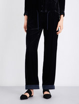 Armani Collezioni Wide-leg velvet trousers