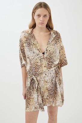 Motel Animal Print Shirt Dress