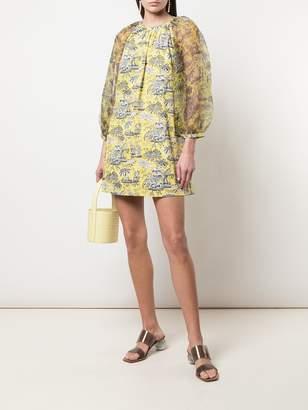 STAUD sheer-sleeves printed mini dress