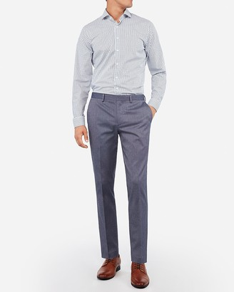 Express Extra Slim Blue Cotton Texture Stretch Suit Pant