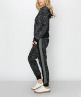 Kimberly C Women's Casual Pants Grey - Gray Leopard Fleece Half-Zip Hoodie & Side-Stripe Joggers - Women
