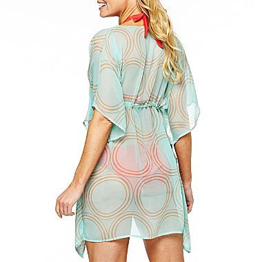 JCPenney Colorplay Champagne Circles Kimono Cover-Up