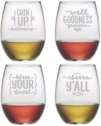 Susquehanna Glass Southern Sayings Stemless Wine Tumbler (Set of 4) 21 oz