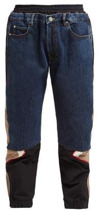 Martine Rose Hybrid Denim-panel Track Pants - Womens - Blue Multi