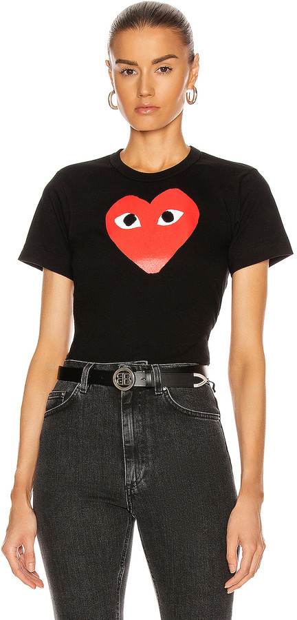 Comme des Garcons Cotton Tee with Red Emblem