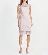Lauren Ralph Lauren Lace Satin Trim Cap Sleeve Sheath Dress