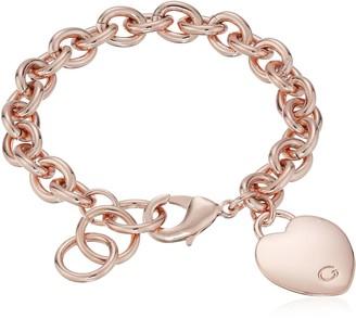 "GUESS Basic"" Silver G Logo Heart Link Bracelet 7.5"""