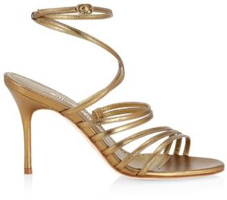Manolo Blahnik Sandena Metallic Leather Strappy Sandals