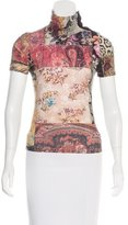 Roberto Cavalli Wool-Trimmed Printed Top