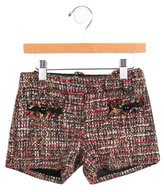 Little Marc Jacobs Girls' Tweed Frayed-Trimmed Shorts