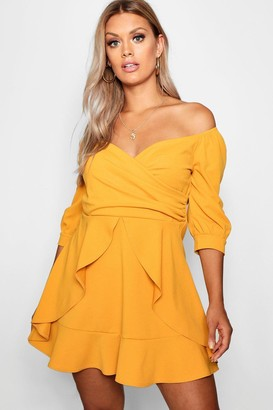 boohoo Plus Bardot Ruffle Skater Dress