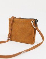 Asos Design DESIGN LEATHER flat cross body bag with ring detail