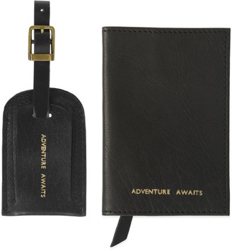 Adventure Awaits Black Leather Passport Cover & Luggage Tag Set