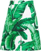 Dolce & Gabbana Printed Cotton And Silk-blend Brocade Skirt - Green