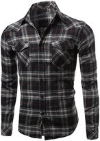 Youstar Scotch Plaid Flannel Long Sleeve Button Down Shirt Black Size 2XL