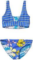 Maaji Kids Maris Freckles Reversible Bikini Set Swimsuit (Toddler/Little Kids/Big Kids) (Pacific Blue Stripe) Girl's Swimwear Sets