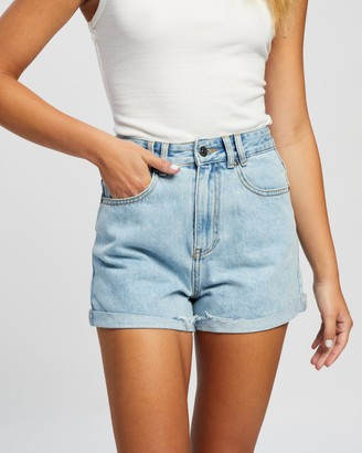 Atmos & Here Atmos&Here - Women's Blue Denim - Angela Recycled Cotton Blend Denim Shorts - Size 6 at The Iconic