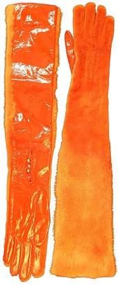 Louis Vuitton Orange Mink Gloves