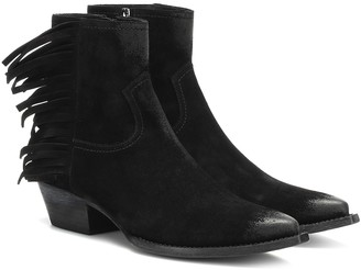 Saint Laurent Lukas fringed suede ankle boots