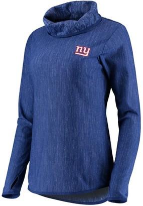 Antigua Women's Heathered Royal New York Giants Equalizer Cowl Neck Pullover Sweatshirt