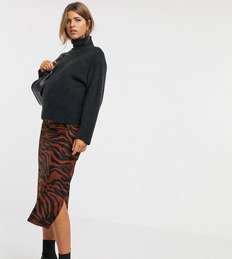 Asos DESIGN Maternity jersey midi bias skirt with split in zebra print