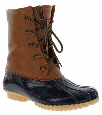Sporto Womens Duck Boots with Lace-Up Closure (Attina) Waterproof Insulated Mid-Calf Winter Boots for Comfort