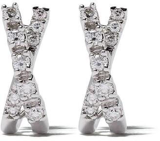 Dana Rebecca Designs 14kt white gold Ava Bea crossover mini diamond huggies