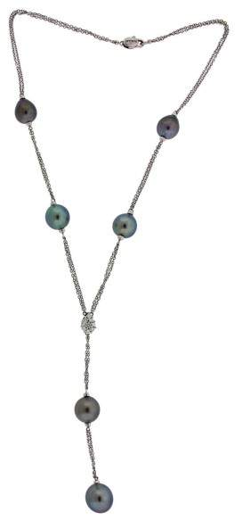 Damiani 18K White Gold South Sea Pearl and 0.35ct. Diamond Lariat Necklace