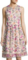 Neiman Marcus Sleeveless Embroidered Fit & Flare Dress