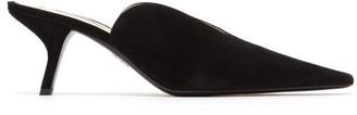 Prada Point-toe Suede Mules - Womens - Black