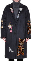 Dolce & Gabbana Whimsical-Embellished Cashmere-Blend Coat, Gray
