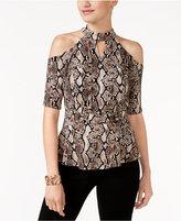 Thalia Sodi Snakeskin-Print Cold-Shoulder Top, Created for Macy's