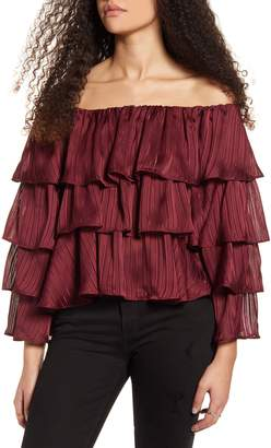 MinkPink In the Moment Off the Shoulder Ruffle Top