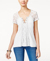 American Rag Crochet-Trim Waffle-Knit Top, Only at Macy's