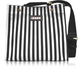 Marni Black Stripe Canvas and Leather Voile Bag