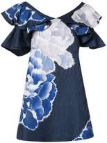 Josie Natori ruffle sleeve peony dress