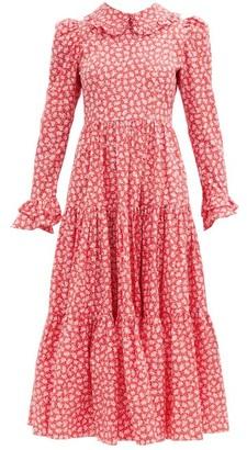 Batsheva Lucy Gathered Floral-print Cotton-poplin Dress - Red