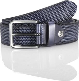 LINDENMANN men's leather belt/men's belt full grain leather navy Groe/Size:115