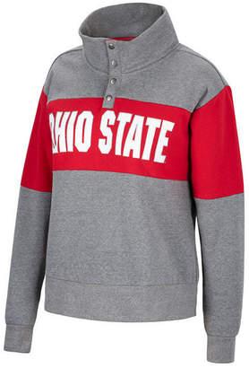 Top of the World Women Ohio State Buckeyes Colorblock Half-Snap Sweatshirt