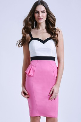 Paper Dolls Cream, Pink and Black Peplum Dress