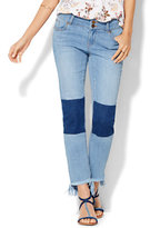 New York & Co. Soho Patchwork & Frayed Hem Boyfriend Jeans - Riverpass Blue Wash